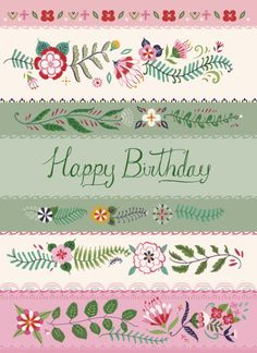Pimlada Phuapradit - Floral Stripes Birthday Card