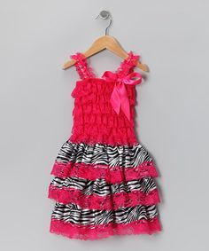 Take a look at this Hot Pink Zebra Stripe Ruffle Dress - Infant, Toddler & Girls by Tutu AND Lulu on #zulily today!