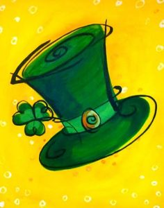 St. Patrick's painted clover hat on canvas.