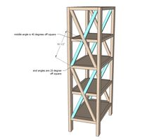 Build your own rustic bookshelf with our free plans. Features four large shelves and x detailing on the ends. Step by step plans from Ana White Woodworking Tools List, Woodworking Projects Diy, Easy Diy Projects, Woodworking Furniture, Woodworking Workbench, Workbench Plans, Desk Plans, Woodworking Machinery, Tall Bookshelves
