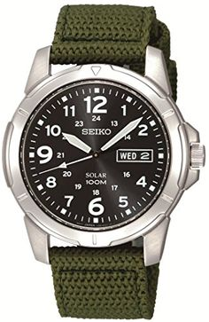 1c3fc654b66 Seiko Men s Black Dial Green Canvas Strap Solar Stainless Steel Watch