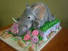 Cut Out elephant with buttercream floral.