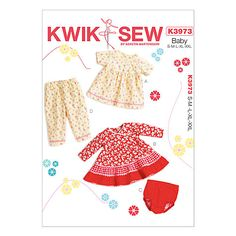 Kwik Sew Baby Clothes Sewing Pattern, 3973