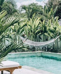Awesome Minimalist Small Pool Design With Beautiful Garden Inside Design minimalista de piscina pequena e bonita com belo jardim por dentro Diy Swimming Pool, Swimming Pool Designs, Kleiner Pool Design, Piscine Diy, Backyard Hammock, Hammocks, Hammock Ideas, Pool Backyard, Tropical Backyard