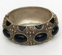 Vintage Gold Metal Bangle with Black Beads by GenesisVintageShop