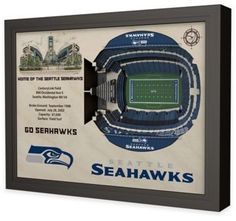 $199.99 - NFL Seattle Seahawks Stadium Views Wall Art - Complement your sports room, man cave, or office with the officially licensed NFL Stadium Views Wall Art. Ideal for any alumnus, this wall art features a flawless, laser-cut, 3D wooden reconstruction of CenturyLink Field.