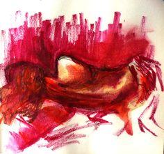 Nude, watercolour pencils, 135 x 135