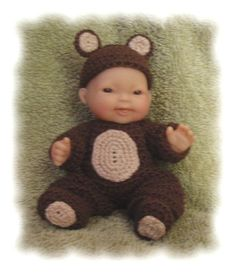Teddy Bear Costume for 5 Inch Berenguer by alcarrico32 on Etsy, $3.99