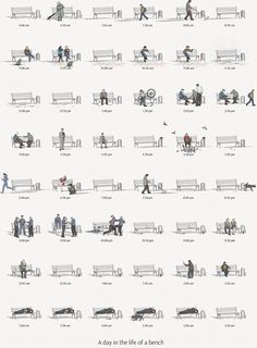 Charming illustration charts the life of a bench is part of architecture - Showing how even the most mundane item can be transformed with a dash of creativity, this gorgeous illustrated chart showcases the day in the life of a park bench Landscape Diagram, Urban Landscape, Landscape Design, Architecture Graphics, Architecture Drawings, Landscape Architecture, Site Analysis Architecture, Business Architecture, Architecture Diagrams