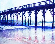 Beach Pier Art Print - Navy Blue White Ocean Nautical Beach House Home Decor Wall Art Photo
