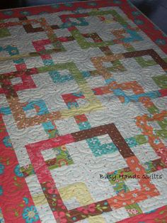"Around the Corner Lap Quilt in Sanibel Fabrics 46"" x 64"" Busy Hands Quilts"