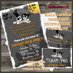Personalized Halloween Wedding Package Printable Digital File includes Invitation, Thank You Card and RSVP Card by DigiGraphics4u on Etsy