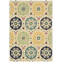Nourison Hand-tufted Suzani Multi-color Medallion Rug (3'9 x 5'9) (1), Ivory (Wool, Abstract)