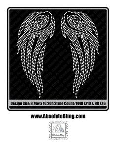 Angel Wings Rhinestone Design Digital Download AB