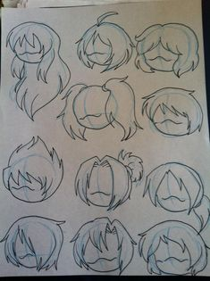 Manga Drawing Techniques Various hair styles by MagicalPouchOfMagic - Chibi Sketch, Drawing Sketches, Art Sketches, Drawing Ideas, Drawing Tips, Fashion Sketches, Drawing Base, Manga Drawing, Chibi Drawing