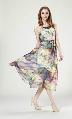 fashion dress flower design chiffon
