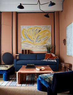 This Leading Designer's NYC Home Is a Wellspring of Inspiration. a room with pink walls and blue furniture with art on the walls and a dark blue trim. Acclaimed creative Giancarlo Valle reimagines a Brooklyn loft into a chic haven for his growing family Interior Exterior, Home Interior, Interior Design, Interior Livingroom, Scandinavian Interior, Interior Styling, Ny Loft, Pink Paint Colors, Brooklyn
