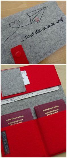 Organizer aus Filz, individualisierbar mit gesticktem Namen oder Spruch / felted organizer for your travel accessories, customisable made by JuniEngel via DaWanda.com