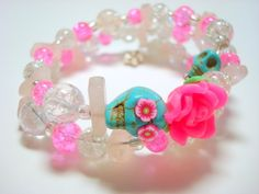 Bright Pink and Turquoise Day of the Dead Stones Rose Sugar Skull Memory Wire Bracelet on Etsy, $25.00