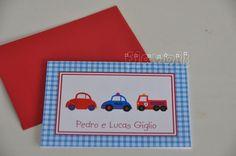 Cartão Carrinhos  :: flavoli.net - Papelaria Personalizada :: Contato: (21) 98-836-0113 vendas@flavoli.net