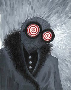 This is another image of Tim Burtons artwork from his website. Here, a contrast of greyscale colours display an odd looking creature in a fur collar coat, that has red and white spiral glasses. Almost as if he has been hypnotised or is going to hypnotise his audience. I love the colour scheme here and resembles Tim Burtons Gothic cartoon imagery.