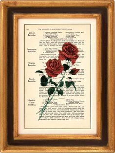 Art Print  Long Stem Roses  6 x 10 Recipe Page  Art by PagesOfAges, $7.00