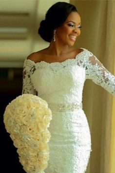 480754bee6e3 Vintage Long Sleeve Mermaid Lace Wedding Dress Crystal Latest Long Plus  Size Bridal Gowns BA0645 1