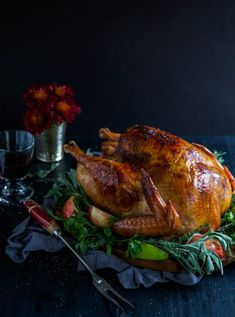 Apple Cider-Glazed Roasted Turkey with Herbed Butter is a delicious and easy turkey to make for the holiday season! Easy Appetizer Recipes, Delicious Dinner Recipes, Appetizers, Yummy Food, Stuffing Recipes, Turkey Recipes, Veg Recipes, Vegetarian Recipes, Christmas Main Dishes