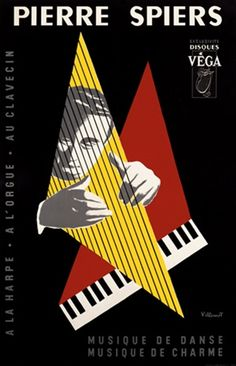 Pierre Spiers by Villemot 1950 France -  Vintage Poster Reproduction. This vertical french theater and exhibition poster features a man playing the strings of a harp in a yellow triangle with a keyboard behind it. Giclee Advertising Print.