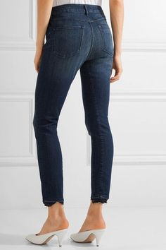 3x1 - W3 Distressed High-rise Slim-leg Jeans - Dark denim - 23