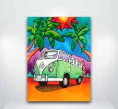 Island Life - Holly K Hawaii Aloha Gallery Art Drawings For Kids, Bird Drawings, Easy Drawings, Oil Pastel Colours, Pastel Art, Bus Volkswagen, Beach Scene Painting, Drawing Scenery, Indian Art Paintings
