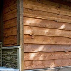 log siding Wood Siding House, Log Cabin Siding, Clapboard Siding, Barn Siding, Wood Cladding, Exterior Cladding, Cladding Ideas, Into The Woods, House In The Woods