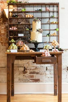 modern rustic dessert bar...macaroons in the drawer are cute.