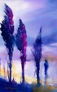 """""""Columbia River Poplars"""" - Painting by Beth Verheyden"""