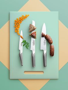 Cervera campaign.  Keywords: still life, still life photography, set design, knife, knifes, food,