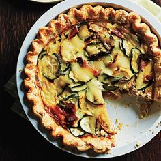 """Summer squash, bacon, and mozzarella quiche - Eat Your Books is an indexing website that helps you find & organize your recipes. Click the """"View Complete Recipe"""" link for the original recipe."""