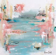 "Artist: Emma Bell Dimensions: 24""x24"" Original Abstract Beachscape Medium: Acrylic and mixed media - Palette knife texture with pops of metallic and antique gold. Surface: Deep edge gallery wrapped ca"