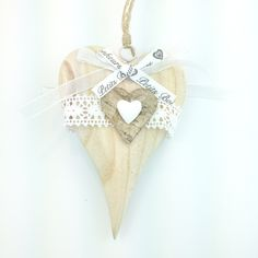 Cuore Grande Heartbeat Bonheurs handmade wood heart decoration only by Daffodil Bijoux