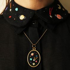 Your place to buy and sell all things handmade - Hand embroidered ' Space ' Necklace and peter pan collar by İrem by BaobapHandmade - Embroidery Art, Embroidery Patterns, Embroidery Fashion, Art Patterns, Japanese Embroidery, Flower Embroidery, Embroidered Flowers, Embroidery Stitches, Diy Fashion