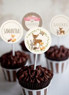 Woodland Baby Shower Cupcake Toppers - Girl Woodland Toppers - Instant Download and Editable File - Personalize at home with Adobe Reader