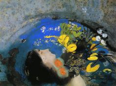 Ophelia, 1903, pastel on paper, 19.5 x 26.19 cm, Private Collection,  Symbolism, Odilon Redon (1840-1916).
