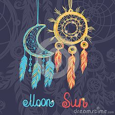 Beautiful vector illustration with dream catchers