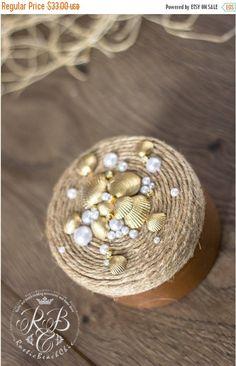 8% OFF Beach Wedding Ring Box, Gold Shell Ring Bearer Box,  Rope Wedding Ring Bearer for Mr and Mrs, Engagement Ring Box, Pillow Alternative