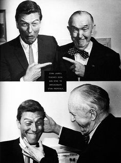 Comedy greats Dick Van Dyke and Stan Laurel, Great Comedies, Classic Comedies, Classic Films, Classic Tv, Laurel And Hardy, Stan Laurel Oliver Hardy, Hollywood Stars, Classic Hollywood, Abbott And Costello