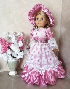 Handmade Lace and Satin Gown Set For American Girl Dolls