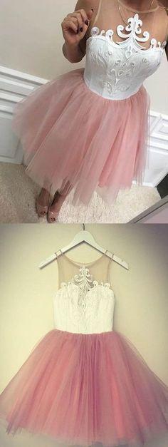 blush pink Homecoming Dresses,Cheap Short Homecoming Dresses,lace Homecoming Dress for teens