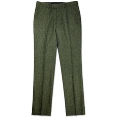 BEN SHERMAN TAILORING Retro Mod Tweed Slim Trousers Rifle ❤ liked on Polyvore featuring pants, tweed trousers, slim fit pants, green trousers, retro pants and slim fit trousers
