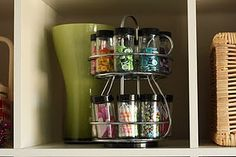 spice rack can be used to organize small items