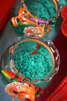 "Goldfish Party Favors - Perfect for Sesame Street Birthday. Kid's can go home with their own ""Dorothy"""