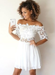 white homecoming dresses,lace homecoming dresses,off the shoulder homecoming dresses,homecoming dresses short Dresses Short, Hoco Dresses, Trendy Dresses, Simple Dresses, Cute Dresses, Beautiful Dresses, Dress Outfits, Summer Dresses, Party Dresses